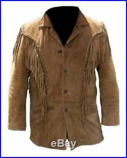 Men Western Suede Leather Wear Cowboy Tan Fringe Native American Beads Jacket