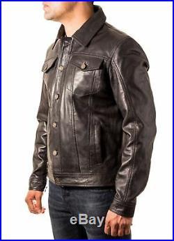Men's Black leather Casual Fitted Denim Western Trucker Star Button Jean jacket