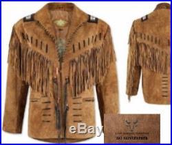 Men's Native American Redskin Western Handmade Suede Leather Fringes Jacket