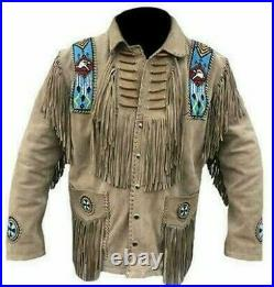 Men's Native American Western Wear Suede Leather Jacket Fringe & Beaded Coat