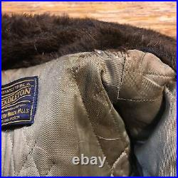 Men's Pendleton Coat Jacket Vintage Western Plaid Large Fur Collar 50s Retro