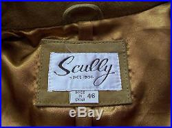 Men's Scully Brown Western Leather Suede Jacket coat With Fringe & Beads Sz 46 EUC