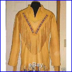 Men's Sioux western red indian scully Leather Jacket Fringes