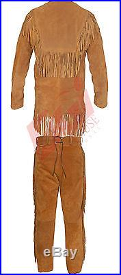 Men's Suede Western Cowboy Leather Shirt & Pant with Fringe All Sizes Available