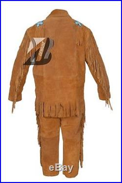 Men's Suede Western Cowboy Leather Shirt & Pant with Frings, Beads and Bones