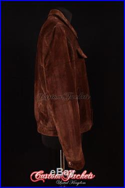 Men's TRUCKER Brown SUEDE Stitch Western Real Cowhide Leather Classic Jacket