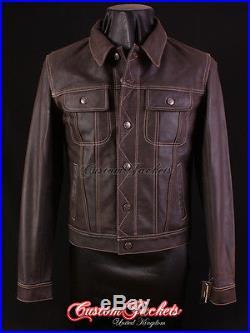 /'TRUCKER/' Mens SKIPPER Leather Jacket  BrownREAL HIDE LEATHER JACKET 1280