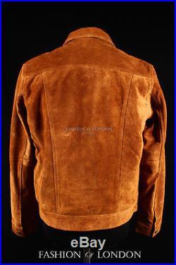 Men's TRUCKER Tan Suede Classic Retro Western Denim Style Hide Leather Jacket