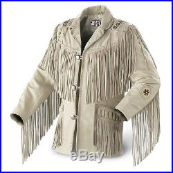 Men's Traditional Western Cowboy Leather Jacket coat with fringe bones and beads