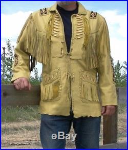 Men's Traditional Western Leather Jacket coat With Fringe Bone and Beads cowboy