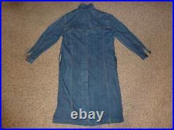 Men's Vintage 90's Levi's Jean Denim Ranch Western Duster Long Jacket / Coat XL