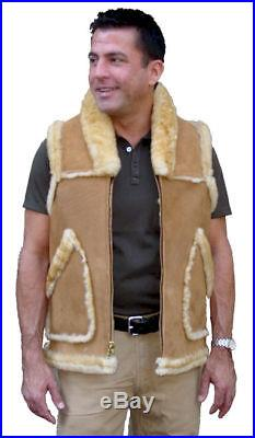 Men's Western Collar Sheepskin Vest, size 42