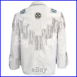 Men's White Western Cowboy Cow Leather Jacket coat With Fringe Bone and Beads