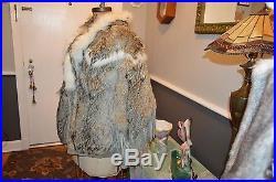 Men's large L tan raccoon white fox fur coat jacket western fringe style