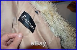 Men's large L tan raccoon white fox fur leather coat jacket western fringe style