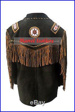 Men western cowboy jacket- men beads and bones fringe suede leather jacket coat
