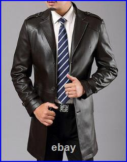 Mens 100% Sheepskin Leather Jackets Long Business Casual Trench Coats Plus G49