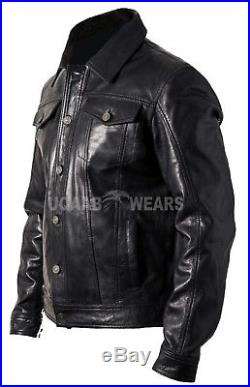 Mens Casual Real Leather Denim Jeans Style Star Button Western Trucker Jacket