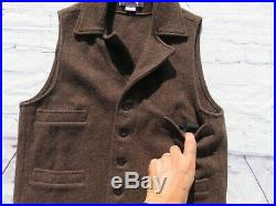 Mens Filson Brown 100% Mackinaw Wool Button Western Vest Medium $195