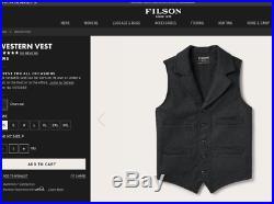 Mens Filson Charcoal Gray 100% Mackinaw Wool Button Western Vest Medium MINT