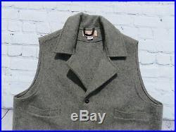 Mens Filson Light Gray 100% Mackinaw Wool Button Western Vest XL $195