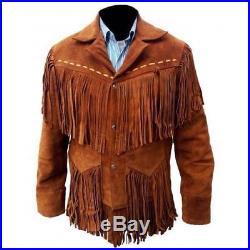 Mens Fringed Real Genuine 100% Leather Western Cowboy Jacket