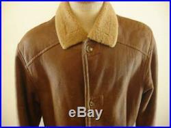 Mens L Gerhel Brown Genuine Sheepskin Shearling Fur Jacket Coat Button Western