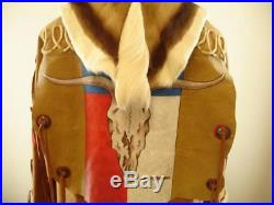 Mens L Mountain Man Fur Coat Jacket Fringe Deer Skin Painted Skull Western Art