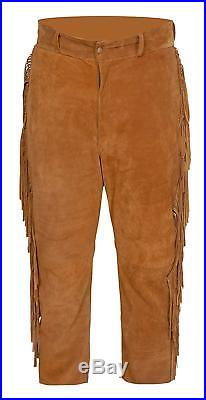Mens Native American Western Suede Leather Suit with pullover Shirt Pants Fringe