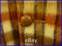 Mens Pioneer Wear Vntg Tan Plaid Fleece Lined Wool Blend Coat Jacket SZ 42L New