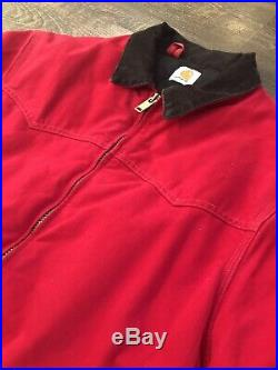 Mens Red L Carhartt Canvas Duck Western Wear Jacket Rare Vintage Coat Model J61