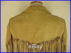 Mens S 36 Lariat USA tan suede leather western LONG fringe jacket coat snap Vtg