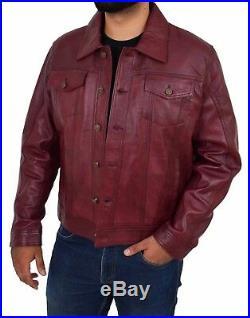 Mens Soft Leather Trucker Jacket Burgundy American Western Denim Levi Style Coat