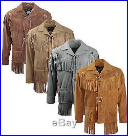 Mens Suede Leather Motorcycle Western Midnight Cowboy Tassell Fringe Jacket