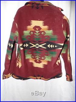 Mens Vintage Large Pendleton Western Wear Wool Coat Navajo Jacket Leather Collar