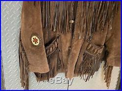 Mens Vintage SCULLY Western Leather Fringe Beaded Jacket / Coat 40 Buffalo Bill