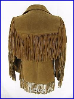 Mens Western Suede Leather Jacket With Fringe