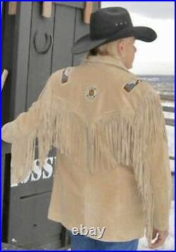 Mens Western Wear Coat Cowboy Fringes & Beads Light Cognac Suede Leather Jacket