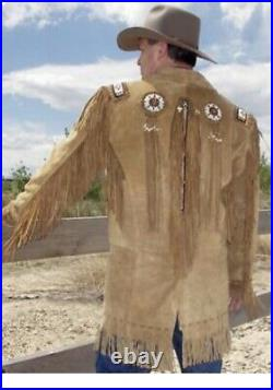Mens Western Wear Cowboy Suede Leather Jacket coat With Fringes Bones and Beads