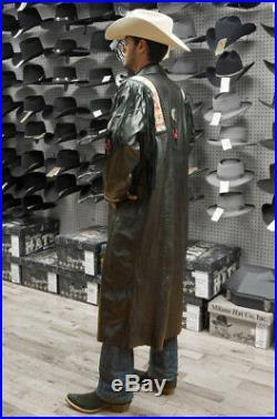 Mens Western Wear Cowhide Leather Long Coat Cowboy Style Fringed Beads Jacket