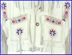 Mens White Western Wear Suede Leather Cowboy Style Fringe Leather Jacket Coat