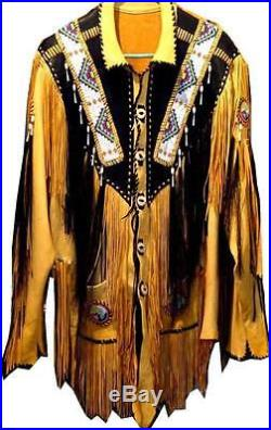 Mens Yellow Black Western Cowboy Leather Jacket coat With Fringe Bone and Beads