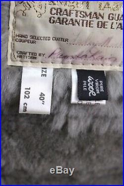 Mens gray genuine SHEEPSKIN SHEARLING COAT ranch western fur suede Medium M 40 R