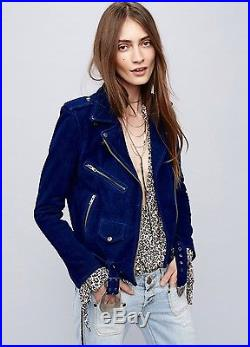 NEW Free People X Understated Leather blue Suede Western Motorcycle Jacket M