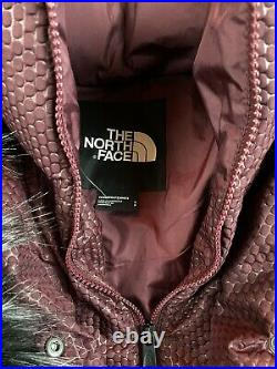 NEW North Face 550 Womens SMALL Fur Hooded Down Parkina Deep Garnet Red $299 S