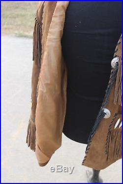 NEW Tribal Indian Boone Eagle Western Cowboy Jacket Leather MEDIUM