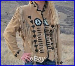 NEW-Women Western Beige Suede Leather Wear Fringe Bones & Beads Coat Jacket
