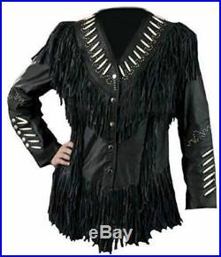 NEW-Women Western Suede Leather Wear Cow-Lady Fringe Bones & Beads Coat, Jacket
