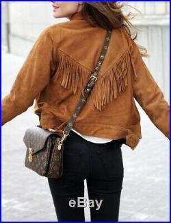 NEW-Women Western Wear Suede Leather Brown Fringe Native American Jacket, Coat