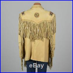 NEW-Womens/Ladies-Western Suede Leather Jacket Fringe Native American Bead Coat